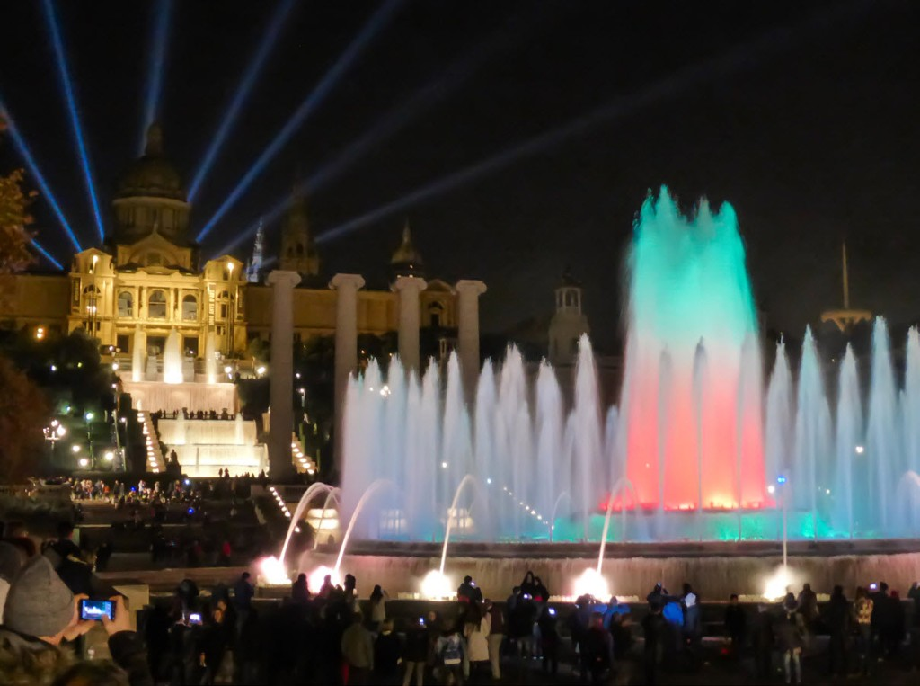National Art Museum of Catalunya light show at night - Barcelona, Spain