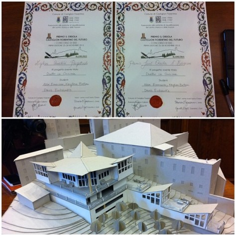 """""""Duello in Cocina"""" model and award certificates"""