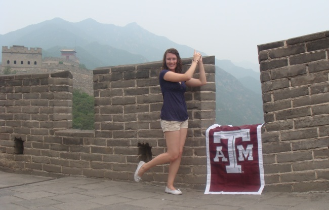 Stephanie Osborne '09, Whooping at the Great Wall of China