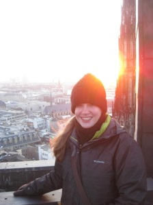 Standing on a small metal catwalk on top of the Cologne cathedral