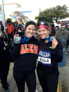My friend, Haley, and me after running our first half marathon