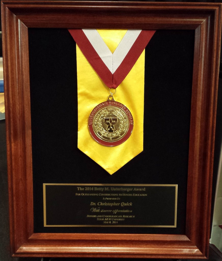2014 Unterberger Award Plaque