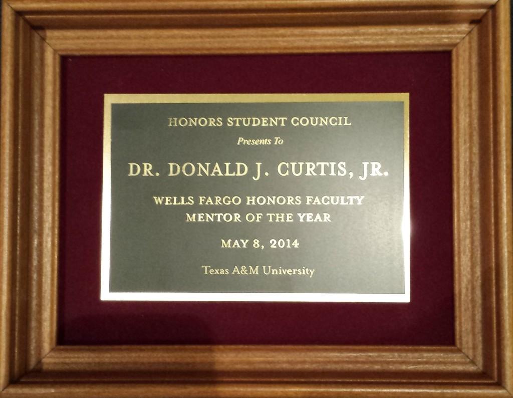 2014 Wells Fargo Honors Faculty Mentor Plaque