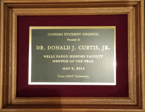 2014 Wells Fargo Honors Faculty Mentor Plaque