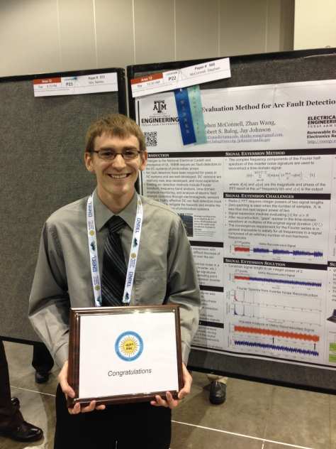 "Stephen McConnell '14 won ""best poster"" at the 2014 IEEE Conference in Denver, CO."