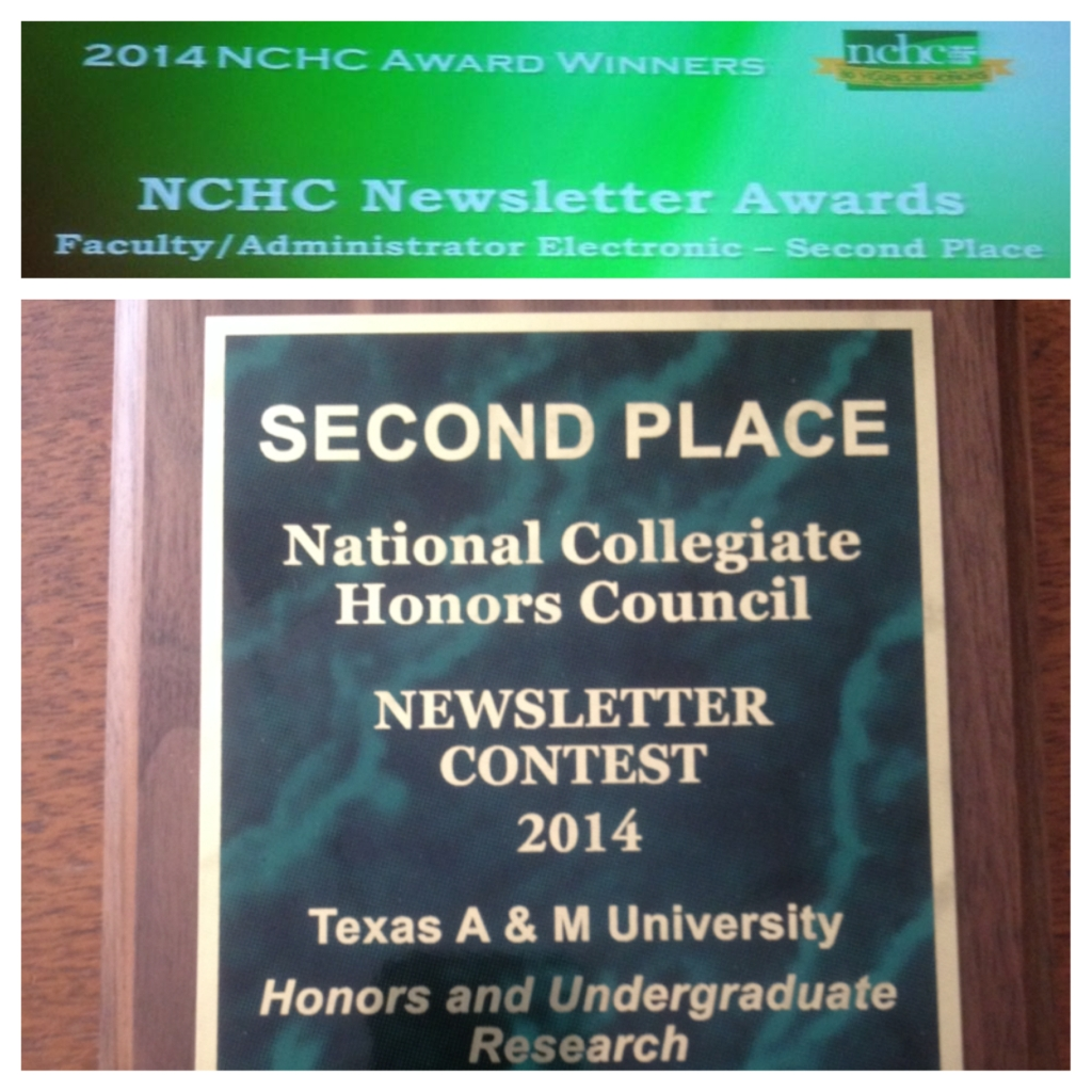 2nd Place NCHC Newsletter Contest 2014 Faculty/Administrator Electronic