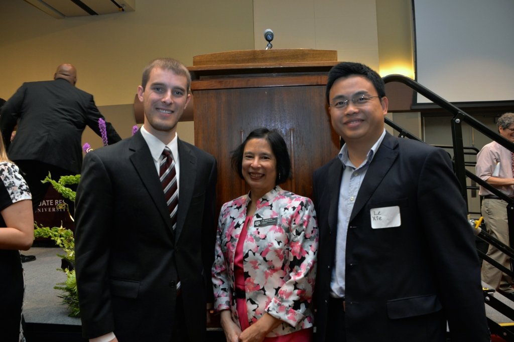 STEM 2015 Best Thesis winner Connor Aimone '15 (left) with HUR Executive Director Dr. Suma Datta (middle), and his research mentor Dr. Le Xie (right).