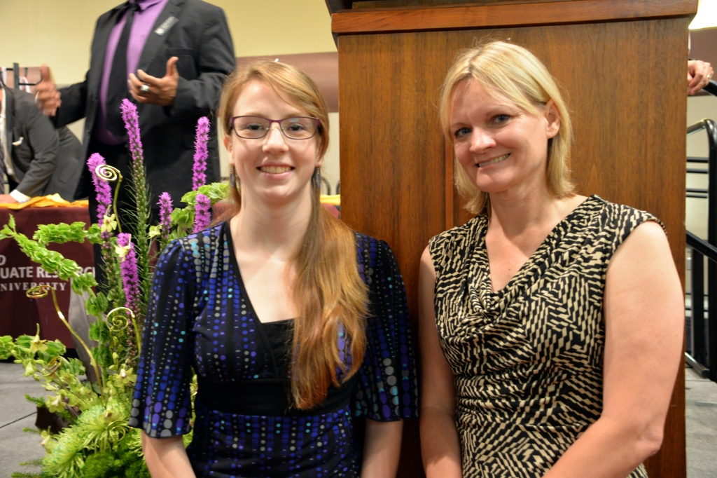 Humanities/Arts/Social Sciences 2015 Best Thesis  winner Susannah Barr '15 (left) with her research mentor Dr. Cynthia Werner (right).