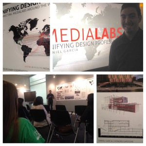 A photo mosaic of Daniel Garcia giving his presentation with some close-ups of his presentation posters.