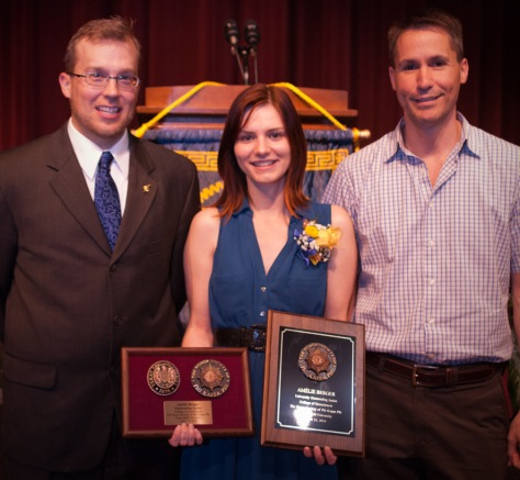 Berger (center) at the 2014 PKP Induction Ceremony, with Dr. Steven Quiring (left) and Dr. Oliver Frauenfeld (right).