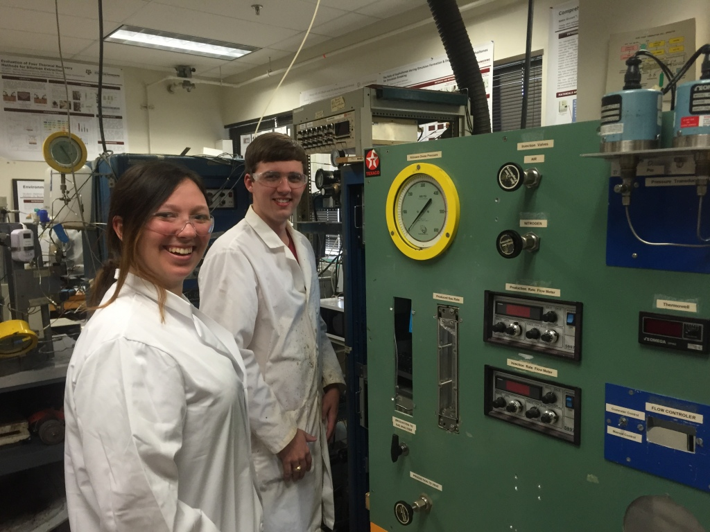 Petroleum engineering majors Kristina Klock '16 and Matthew Williamson '16 in Dr. Berna Hascakir's lab.
