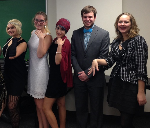 The Agatha Christie class celebrated with a 1920s-themed potluck. From left: Kat Williams, Chloe Dixon, Alex Payne, Trace Dressen, Bridget O'Connell.