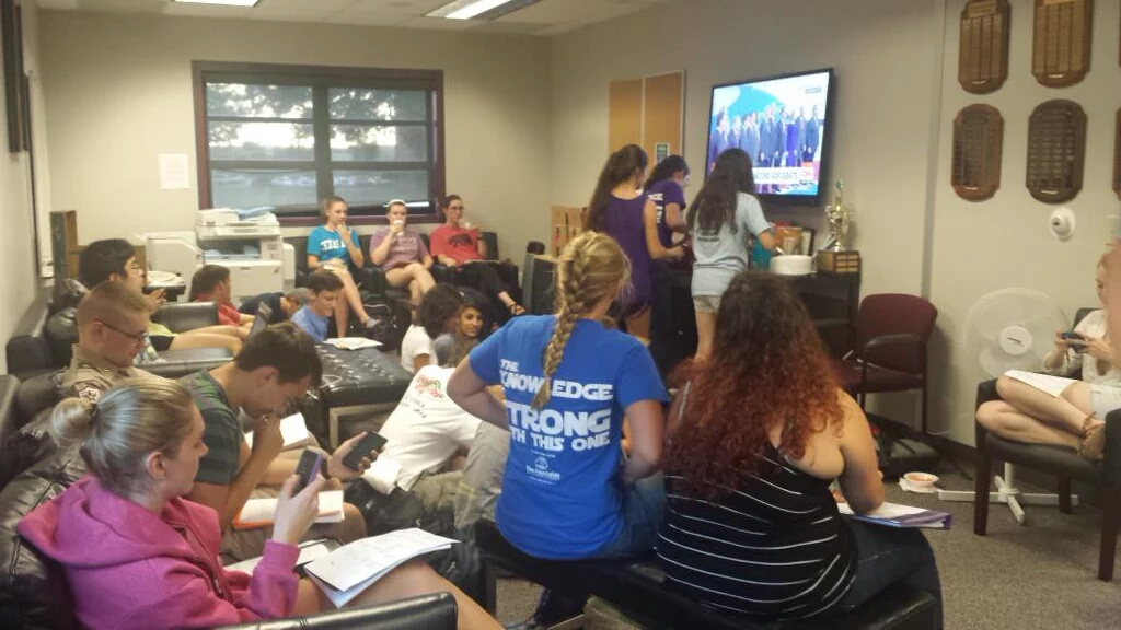 Honors Students attend a watch party for the GOP Presidential Debate held in the lobby of Henderson Hall (September 16th, 2015)