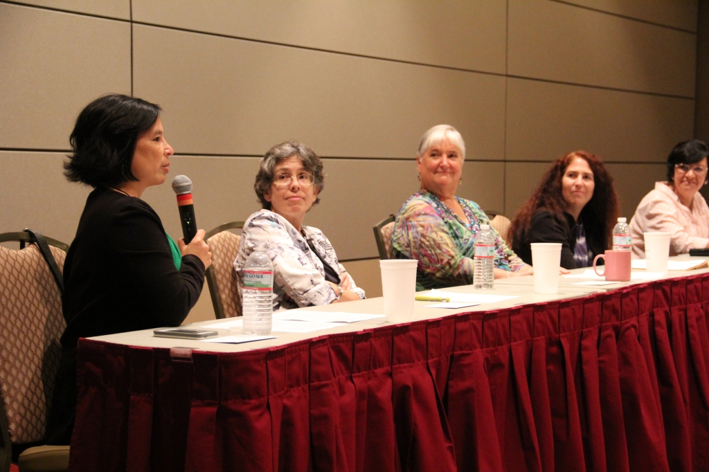 Dr. Datta (far left) addresses a question to the Women in STEM Panel, (left to right) Dr. Welch, Dr. Geller, Dr. Amato, and Dr. Pietrantonio.