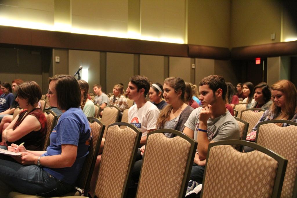 Students listen to Dr. Nancy Amato, Panelist: Dr. Deborah Bell-Pedersen, Dr. Suma Datta, Dr. Sue Geller, Dr. Patricia Pietrantonio, and Dr. Jennifer Welch take part in the Women in Stem panel. (October 29, 2014)