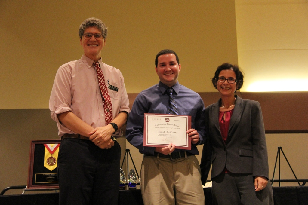STEM Best Thesis winner David LaCroix (center), with Dr. Duncan MacKenzie (left) and Dr. Dilma Da Silva (right).