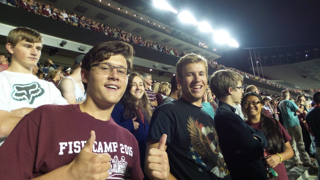 Honors students at Midnight Yell in 2015