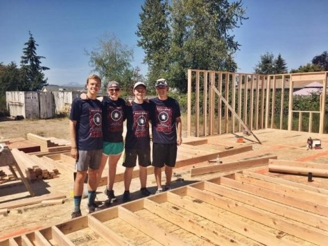 Build Day in Bremerton Washington. Left to right: Garret Jones, Colleen Flynn, Charlie Arnold, and Daniel Clarke
