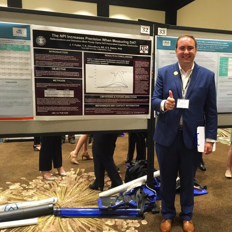 Undergraduate Research Ambassador Joshua Fuller '17 with his poster at the 2016 National Academy of Neuropsychology annual meeting.