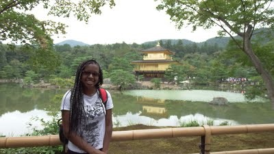 Briana Bryson '17 in front of the Golden Pavilion in Kyoto