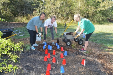 Three students smile while working on mulching the garden.