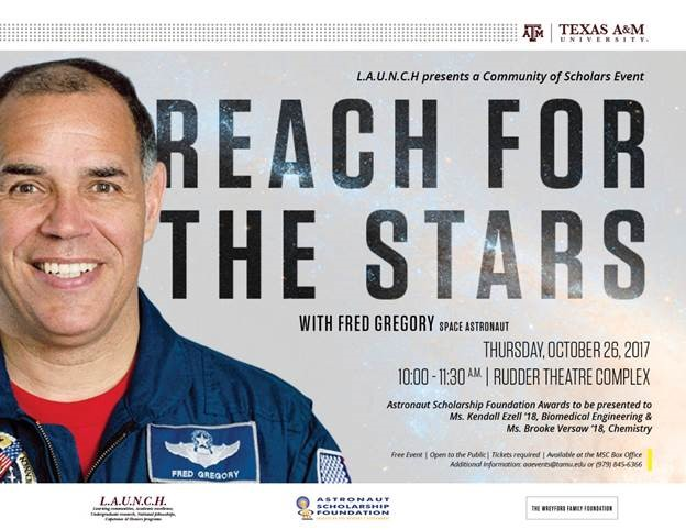 2017 ASF Award Presentation, Reach for the Stars, with astronaut Fred Gregory. Gregory will present awards to Ezell and Versaw before making public comments.